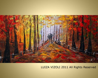 Original Abstract Trees Landscape Forest Impasto Oil Large Painting by Luiza Vizoli 72x36