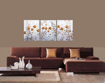 Original Abstract Painting GOLD FLOWERS on White Large Textured Artwork for Sale by Luiza Vizoli 54x24