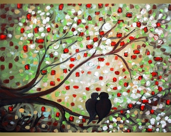ORIGINAL Abstract Painting, Acrylic, Birds Tree Landscape, Signed by Artist, Modern Canvas, Large Canvas