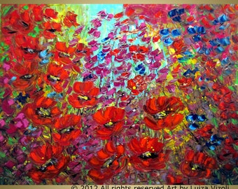 XXL Original Modern Impressionist WILD FLOWERS Palette Impasto Textured Very Large Painting by Luiza Vizoli, 52x36, 64x36, 72x36