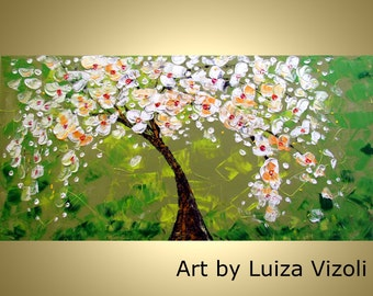 Flowering Tree Spring Magnolia Original Abstract Modern Impasto OIL Painting by Luiza Vizoli -Other COLORS AVAILABLE