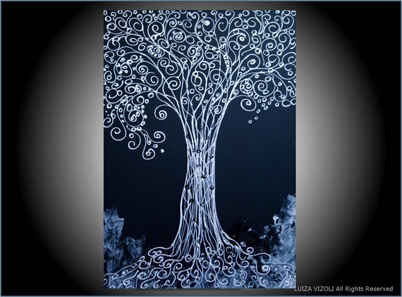SALE Original Abstract Modern Art WISH TREE in WHITE and BLACK 36X24
