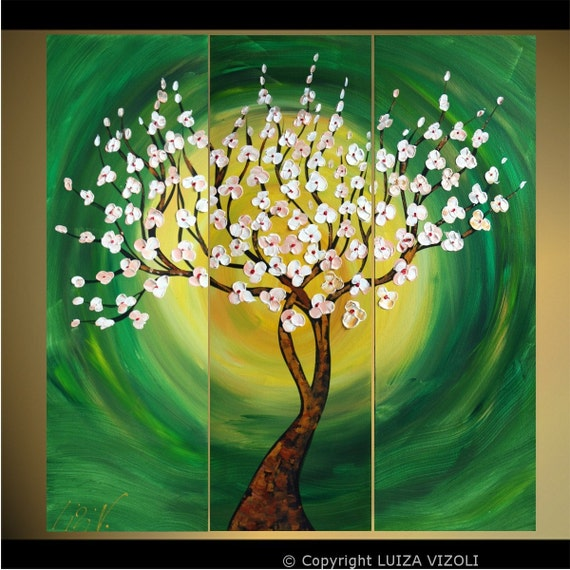 SALE Original Abstract Tree Landscape Large Painting Triptych Art 36x36 SPRING AWAKENING