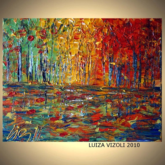 NORTH WOODS Original Modern Oil Painting Impasto Palette Knife Artwork on Canvas by Luiza Vizoli
