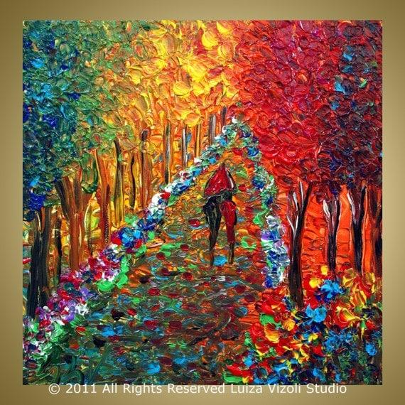 Oil Paintings of Fall Trees Impasto Oil Painting Trees