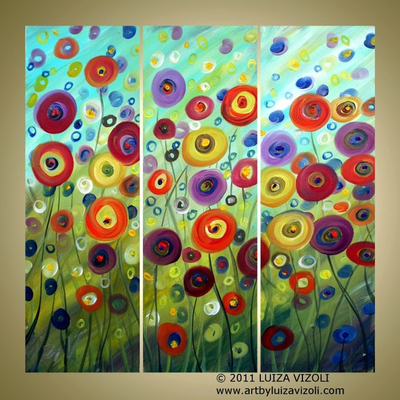 Original Large Painting HAPPY in the WIND Fantasy Poppies Flowers Whimsical Triptych Fine Art 30x30