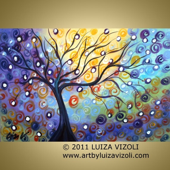 on sale Original Large Painting Fantasy Abstract Tree landscape Artwork ONE PIECE of EDEN by Luiza Vizoli