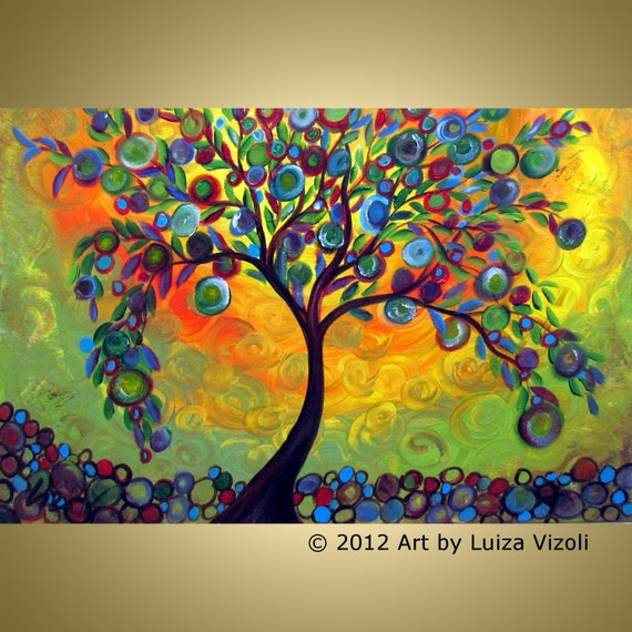 Sale Original Modern Abstract OLIVE Tree Landscape Whimsical Acrylic Painting MANZANILLA TREE-Little Apples