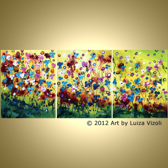 Original Abstract SPRING FLOWERS Painting Fantasy Modern Large Canvas Impasto Artwork 48x20