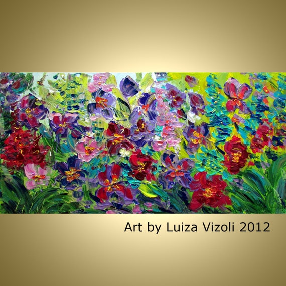 Abstract Floral Impasto Oil Painting PEONIES FLOWERS Contemporary Large Artwork on Canvas by Luiza Vizoli 40x20,48x24,52x36,64x36,72x36