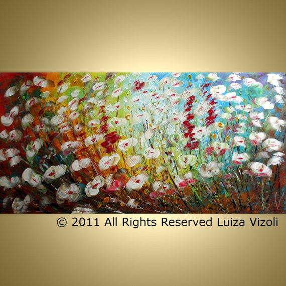 Original Abstract Modern Textured Flowers Landscape Palette Knife Colorful Painting by Luiza Vizoli