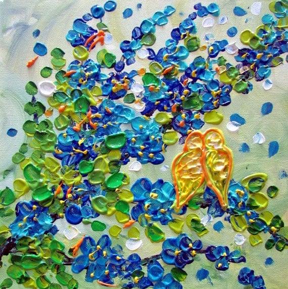 LOVEBIRDS Blue Flowers Original Modern Impasto Oil Painting on Canvas by Luiza Vizoli