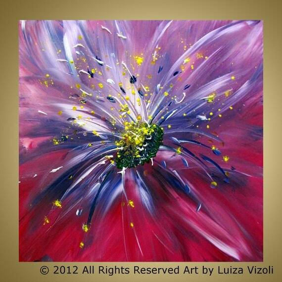 Fuchsia FLORAL MICROCOSMOS Original Modern Flower Oil Painting by Luiza Vizoli 20x20