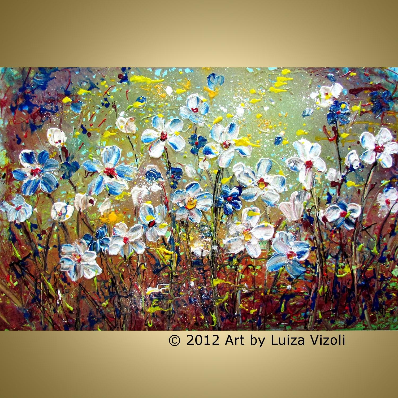 Original flowers painting modern abstract oil artwork daisies for Modern flower paintings