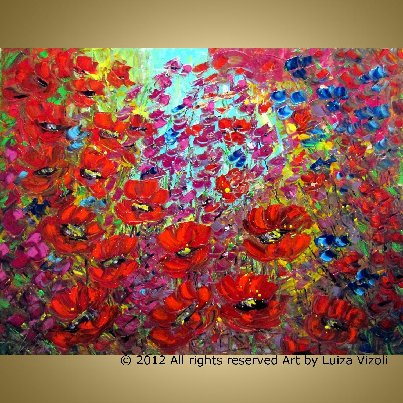 Xxl original modern impressionist wild flowers palette impasto for Modern flower paintings