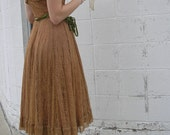 MOCHA LACE Vintage Dress. 1940s Soft brown lace party dress, wedding dress, Easter dress, prom dress.