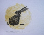 RABBIT Limited edition block print. Gold and black ink. Hand pulled. woodland art decor nature art bunny modern art