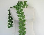 Green crochet scarf. Eco friendly scarf. pure bamboo cotton scarves. asparagus irish peridot jungle