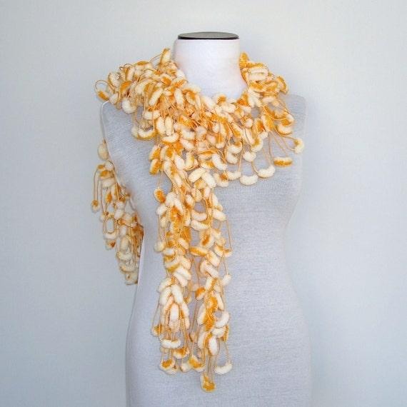 BOGO FREE ... Mustard cream curly mulberry long scarf ...Gift for her... Ivory,white,orange,carrot,pumpkin,tangerine,gamboge,gold