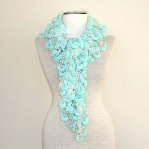 Robin's egg blue Mulberry Curly Scarf with white sparkle ... AOD from Ayca...Gift for her...Scarves,scarflette,cowl,neckwarmer( Fur feeling ) ice blue,powder blue,baby blue,light blue,sky blue,white