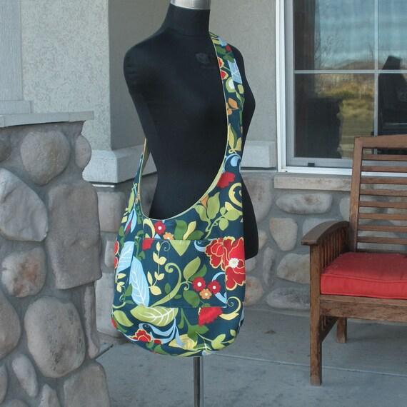 NavyBlue and Paprika Floral Canvas Shoulder Bag