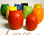 Kitty Egg Crayons- 6 Colors- Upcycled