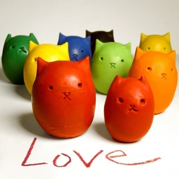 Kitty Egg Molded Crayons- Set of 6 Custom Colors