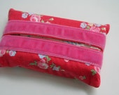 Fabric Tissue Holder - Red Ditsy Flowers