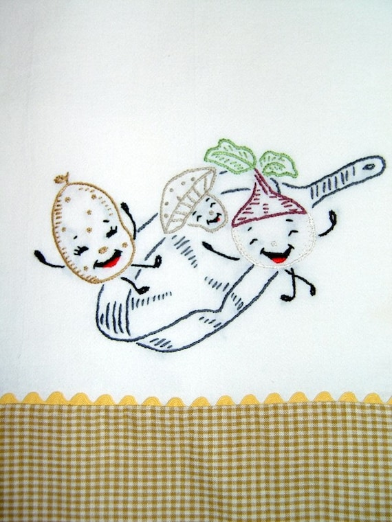 STIR FRY - hand embroidered flour sack tea towel