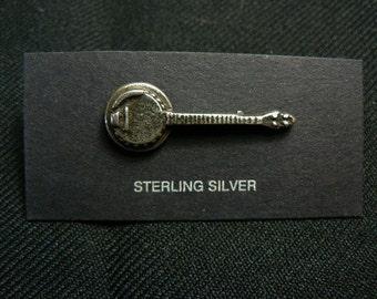 Sterling Silver Sand Cast Five String Bluegrass Banjo  Tie / Hat Tack