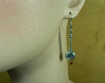 Hand Made Sterling Silver Sand Cast Five String Bluegrass Banjo Earrings