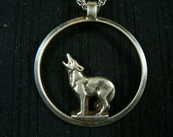 Sterling Silver Sand Cast Wolf/ Coyote  Pendent