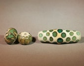 Turquoise and Ivory Bicone Barrel Glass Bead with Two Spacers - Moretti