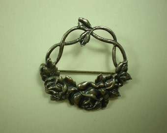 Vintage Victorian Sterling Silver Roses Pin Brooch Art Nouveau