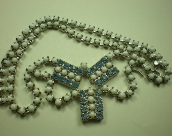 Vintage 1950s Necklace Blue Rhinestone and White Milk Glass