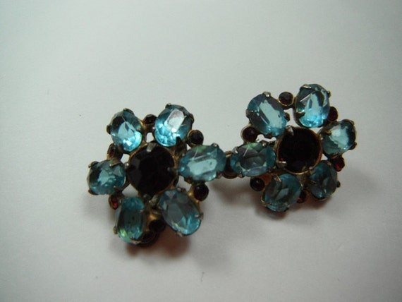 Vintage 1940s Coro Earrings Sterling Silver Vermeil Aqua Blue and Red Stones