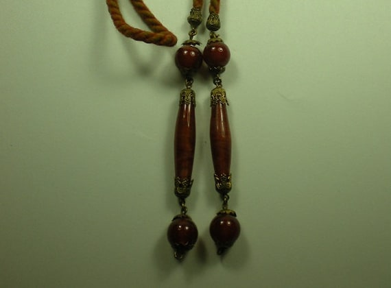 Vintage 1920s Necklace Flapper Bolo Glass Beads Ornate Brass Caps