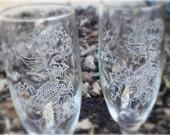 Lotus Koi Fish- Engraved Wedding Glass Toasting Flutes