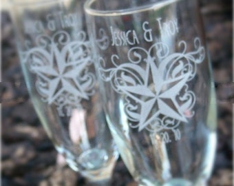 Nautical Star and Swirls- Engraved Wedding Glass Toasting Flutes