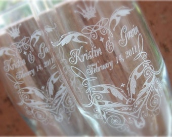 Elegant Crowned Heart- Engraved Wedding Glass Toasting Flutes