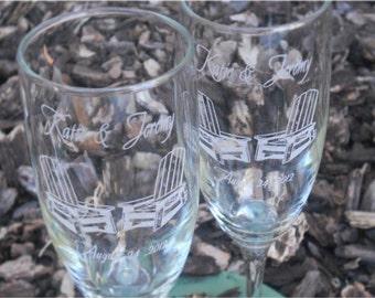 Adirondack Beach Chairs- Engraved Wedding Glass Toasting Flutes