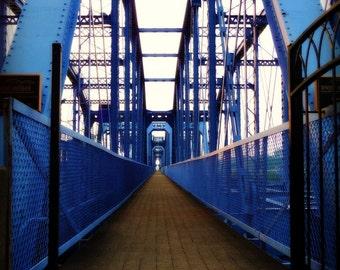 Cincinnati photo - Purple People Bridge - 8 x 10 fine art color photograph - cornflower blue and brown