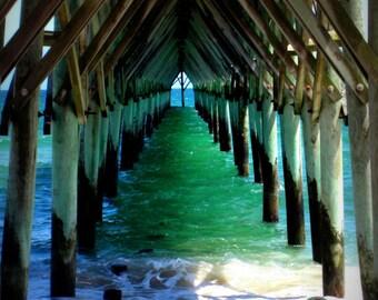 Beach photo - Peaceful Under the Pier - 8 x 10 fine art color photograph