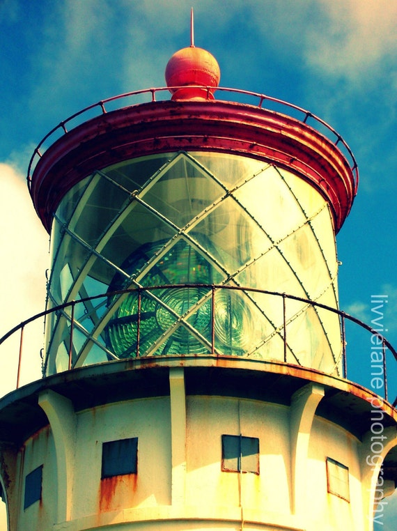 Nautical photography - Kilauea Lighthouse - 8 x 10 fine art color photograph - red blue cream beige