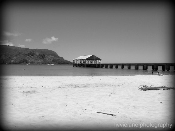 Beach photography - Hanalei Pier -  8 x 10 fine art black and white photograph -  Kauai  Hawaii