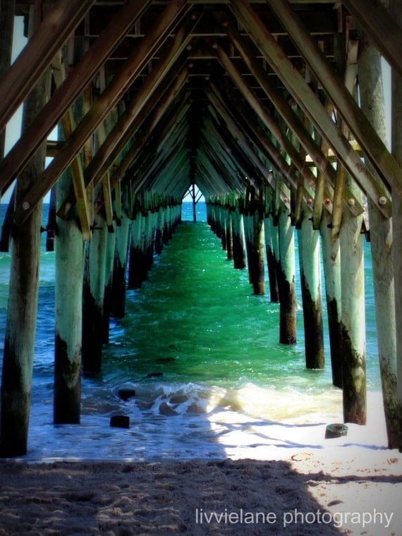 Beach photo - Peaceful Under the Pier - 5 x 7 fine art color photograph - aquamarine teal turquoise