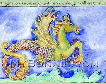 ALBERT EINSTEIN. Quote. Seahorse. Einstein Quote. Original Art. Decor. Winged Horse. Fantasy. Art Nouveau. Ocean. Mythology. Creature. Horse