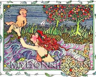 MERMAID With BABY. Whimsical. Fantasy. Nursery Art. Mermaid. Ocean. Dream. Decor. Birth. Baby Watercolor. Water. Blue. Red. Grass. Boat