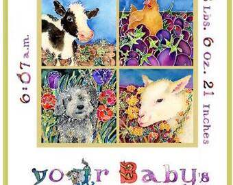 BIRTH CERTIFICATE. Adoption. Nursery Decor. Newborn. Personalized Art. Calligraphy. Kid Room. Children's Book Illustration. Colorful. Unique