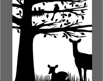 Doe and Fawn Silhouette black white 8X10 Paper Cut Design Unframed